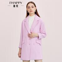 【海贝超级品牌日 满149减50 全场买三免一】海贝女装时尚外套 西装领双排扣纯色中长时尚外套