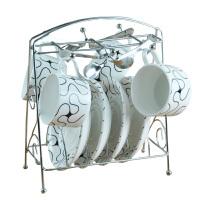 欧式咖啡杯套装 高档咖啡杯 创意13件套 骨瓷咖啡杯碟勺子架子 条纹咖啡杯