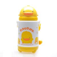 黄色小鸭宝宝水壶 婴儿保温杯带吸管 儿童防漏喝水训练杯420ml