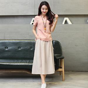 波柏龙 新款两件套棉麻连衣裙女韩版修身V领短袖时尚套装裙