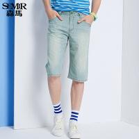 森马水洗牛仔裤 夏装 男士中低腰直筒纯棉六分裤韩版潮款