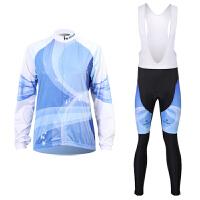 蓝光女款骑行服长袖套装自行车服春秋季吸湿排汗速干衣骑行服