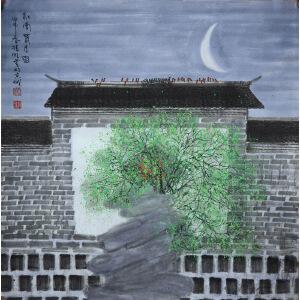 赵准旺当代著名画家,中国美协会员 江南春月图