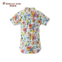 探路者TOREAD品牌童装 户外运动 夏装女童雨林系列满印花圆领短袖T恤