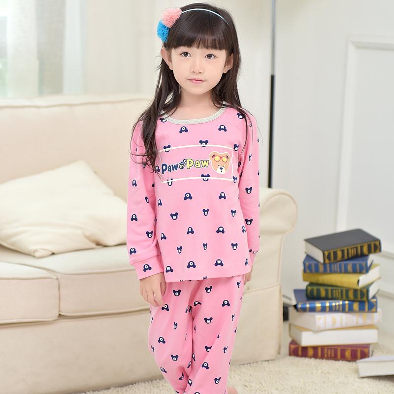 阿拉兜纯棉儿童睡衣 男童春款卡通中大童长袖家居服 小女孩套装_女童