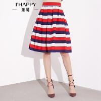 【8.9上新】海贝春装半身裙时尚撞色短裙横条纹高腰挺括中裙