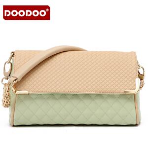 DOODOO 2017新款女包欧美风撞色链条包包甜美菱格女士包时尚单肩斜挎女式小包包 D3010 【支持礼品卡】