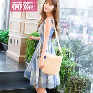 【hersheson赫��】2017夏夏新款修身显瘦吊带露背沙滩裙蓝色高腰大摆连衣裙H6680