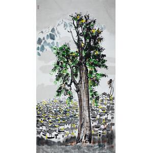 吴冠中 美术大师,当代著名画家,美术教育家 国画 《玉龙山下丽江城》