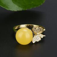戴和美 精选天然琥珀蜜蜡 S925银镶嵌蜜蜡圆珠金色蝴蝶戒指(附鉴定证书)均码可调节