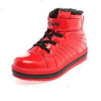 Shoebox/鞋柜 漆皮魔术贴加绒长毛里高帮运动鞋男童鞋