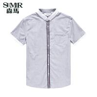 森马 夏装新款短袖衬衫 男士韩版撞色休闲衬衣 棉衬衫