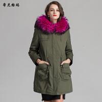 冬季女装新款皮草外套兔绒内胆貉子领帽中长款派克服军大衣