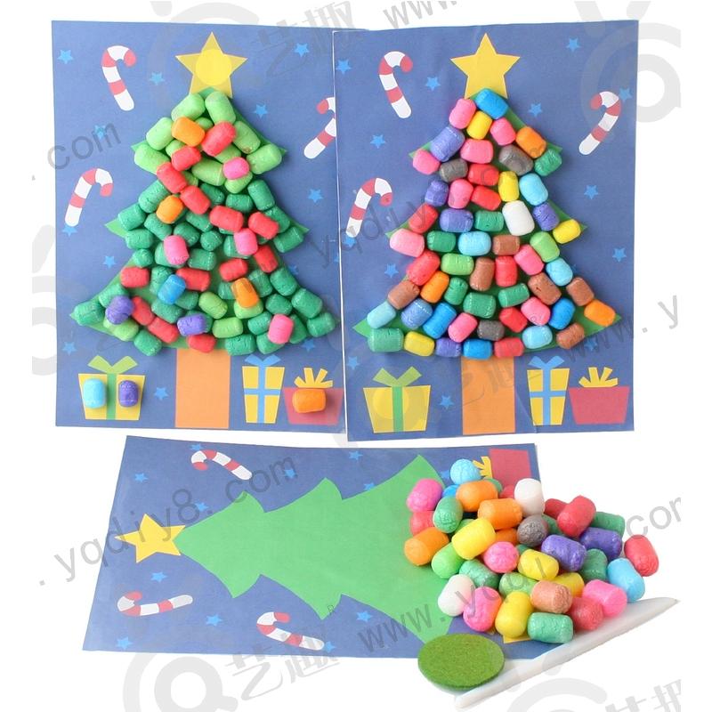 幼儿园手工材料手工diy儿童手工制作彩色玉米粒圣诞