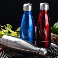普润 500ML可乐瓶304不锈钢保温杯 双层子弹头水杯真空直身杯保冷杯 PRB04 白色