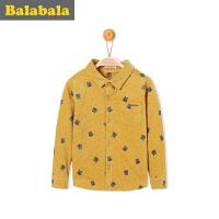 巴拉巴拉男童长袖衬衫卡通加绒小童宝宝上衣冬装童装儿童衬衣