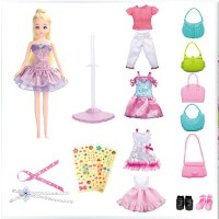 全店满99包邮!乐吉儿洋布芭比娃娃套装大礼盒2014正品手工diy布偶女孩玩具