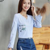 长袖v领衬衫女上衣2017秋装新款女装韩版打底衬衣