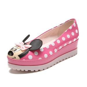鞋柜SHOEBOX 大童 女鞋童鞋秋款单鞋紫色波点米妮图案小孩童鞋