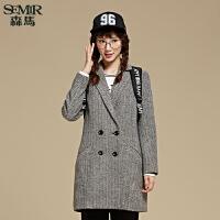 森马毛呢外套 冬装新款 女士便服呢大衣中长款直筒外套韩版潮