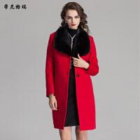 秋冬女士中长款红外套水貂领时尚拼接羊毛呢大衣M-616351-1