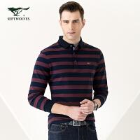 七匹狼长袖T恤 青年男士条纹时尚商务休闲翻领T恤