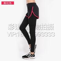 夏季健身裤女假两件弹力紧身提臀长裤速干跑步瑜伽显瘦透气运动裤