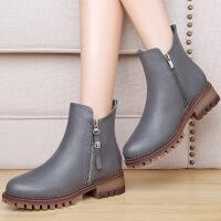 莫蕾蔻蕾(MOOLECOLE)2016冬季新款加绒保暖马丁靴厚底短靴子英伦风女单靴 6D635