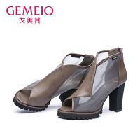 戈美其女鞋时尚高跟女鞋欧美网布单鞋1658200