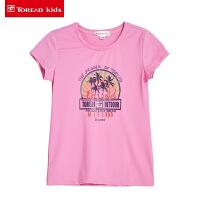 探路者童装 儿童T恤女孩中大童2017夏季新款女童短袖圆领打底衫
