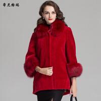 时尚女装冬季新款狐狸方领中长款抗寒保暖羊剪绒皮草外套