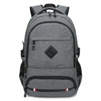 2017韩版双肩包男式学生书包休闲USB充电背包男士大容量电脑包潮