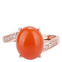 戴和美 天然南红玛瑙戒指镶嵌银时尚戒指均码可调节戒指(附鉴定证书)