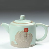 尚帝 精美浮雕汝窑茶壶 可养开片汝窑裂纹茶壶 功夫茶具配件XFRY-02K