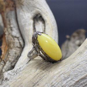 波罗的海天然蜜蜡纯银镶嵌戒指 重约4.2克