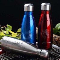 普润 500ML可乐瓶304不锈钢保温杯 双层子弹头水杯真空直身杯保冷杯 PRB04 红色