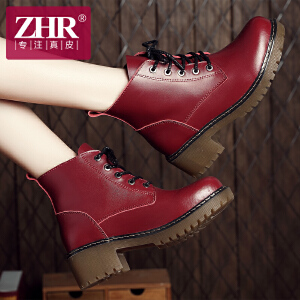 ZHR冬季清仓真皮马丁靴女英伦风短靴平底短筒女靴子中跟单靴E77