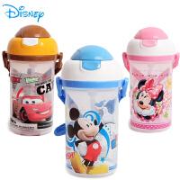 迪士尼塑料吸管杯儿童水杯吸管杯宝宝米奇水壶防漏 硬吸管水壶大容量有背带492