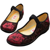 欣清 新款老北京布鞋妈妈鞋休闲坡跟圆头秋款平跟女士中巾单鞋