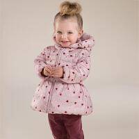 davebella戴维贝拉婴儿衣服冬装新款女宝宝印花保暖羽绒服