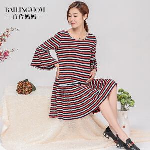 孕妇装春装2017新款彩色条纹中长款孕妇连衣裙S17002