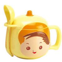 男孩杯带盖带勺子 可爱卡通儿童杯 情侣水杯 茶杯塑料休闲杯