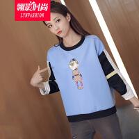 翎影时尚  2016新款 韩版卡通小人印花宽松套头学生卫衣外套