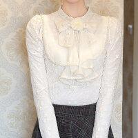 蕾丝打底衫女长袖修身立领泡泡袖网纱蕾丝衫上衣秋冬女装新款小衫
