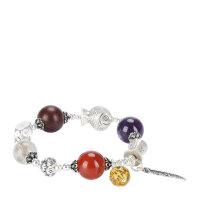 戴和美 精选天然紫水晶配红玛瑙,小叶紫檀S825银时尚手链(附鉴定证书)