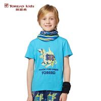 探路者TOREAD品牌童装 户外运动 夏装男童印花圆领儿童短袖T恤