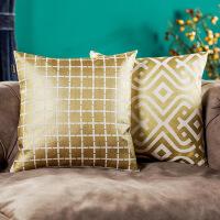 奇居良品 欧式现代沙发床头靠垫套抱枕套方枕套 希尔烫金靠垫套