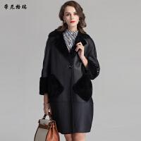 冬季新款羊剪绒皮草外套翻领皮毛一体女装