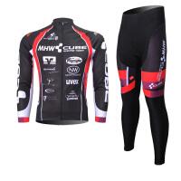 XINTOWN黑骑行服长袖套装自行车服春秋季吸湿排汗速干衣