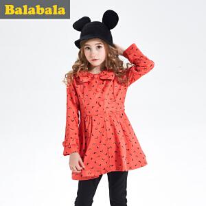 巴拉巴拉童装女童外套中大童春装儿童小孩中长款风衣外套便服